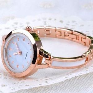 Gold and White Cuff Bangle Quartz Wrist Watch